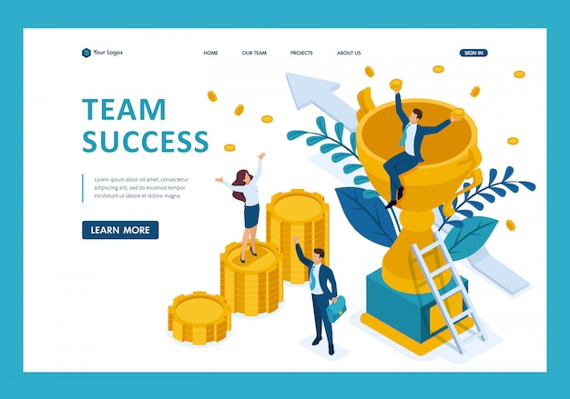 Isometric the success of a good business team, concept banner