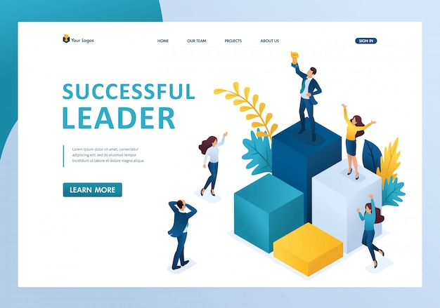 Isometric successful leader on the podium with a prize, the team enjoys success landing page