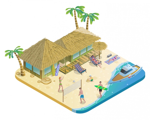 Isometrica summer beach vacation concept