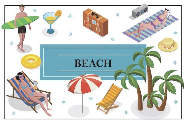 Изометрические летние каникулы композиция с мужчиной, держащим доску для серфинга, женщины загорают на пляже, коктейльное кресло, багаж, зонтик, пальмы, шляпа, спасательный круг