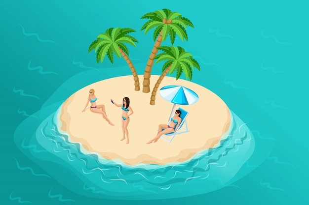 Isometric summer illustration with a paradise island for a travel company, advertising a holiday with  sun-tanned girls in bright swimsuits and making selfies