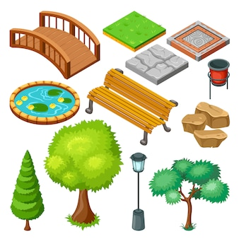 Isometric summer park landscape elements set