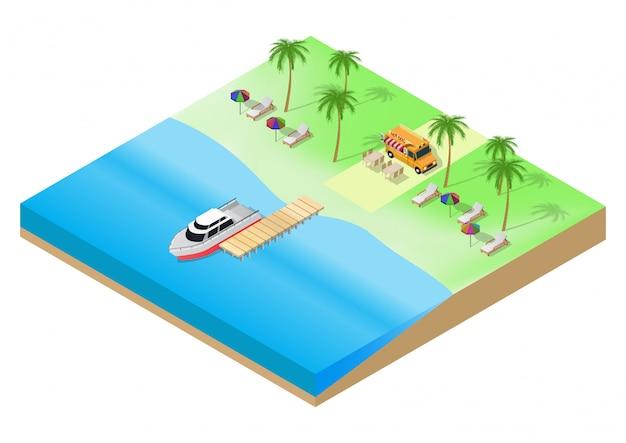 Isometric of summer tropical beach