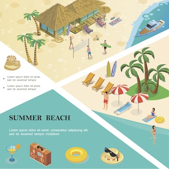 Isometric summer vacation colorful template with cocktail hat sunglasses lifebuoy baggage people rest on tropical beach