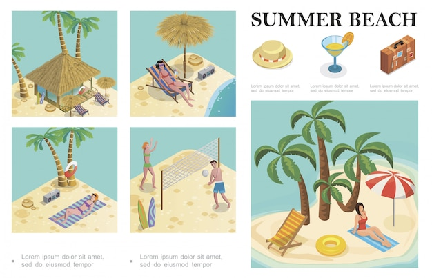 Isometric summer vacation composition with hat cocktail baggage palm trees recliner bungalow hotel people playing volleyball and women sunbathing on beach