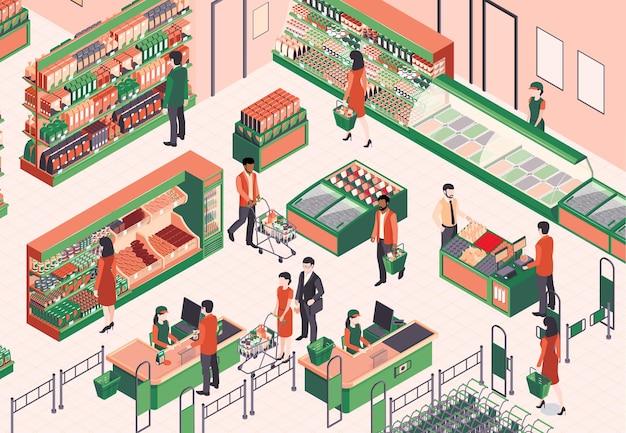 제품, 방문자 및 카운터 데스크가있는 셀프 서비스 매장의 실내 전망이있는 아이소 메트릭 슈퍼마켓 구성