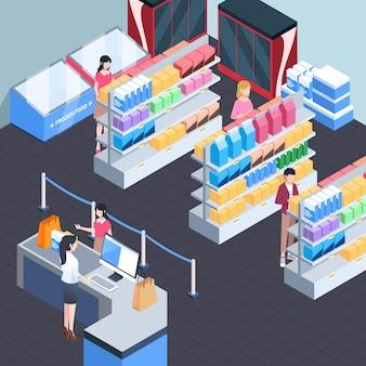 Изометрические концепция супермаркета