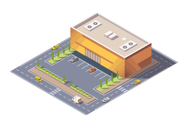 Isometric supermarket or grocery store building and street.