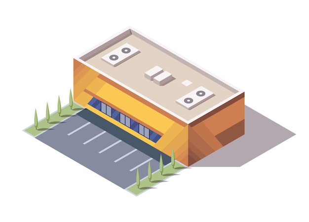 Isometric supermarket or grocery store building