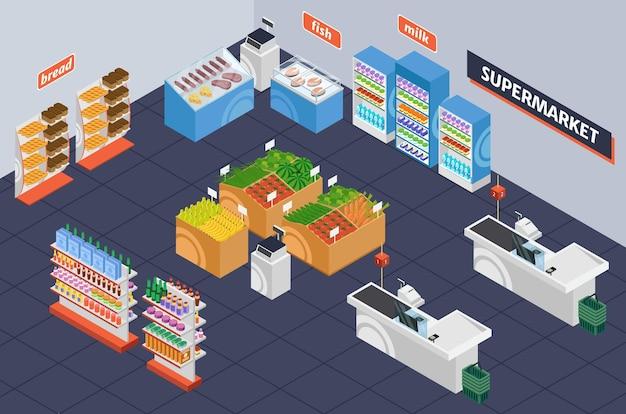 等尺性スーパーマーケット小売店の棚製品と食料品店のインテリアとチェックアウトデスク3d