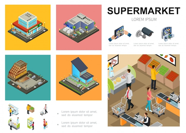 Isometric supermarket template with shopping mall exteriors video surveillance system customers buying different products in hall of hypermarket