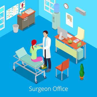 Isometric surgeon office with doctor examinating patient.