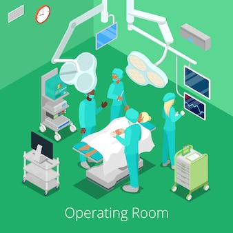 Isometric surgery operating room with doctors on operation process.