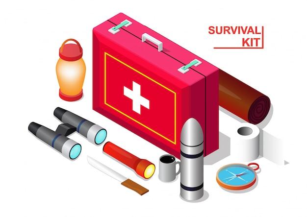 Isometric of survival emergency kit set,