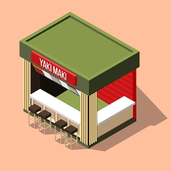 Isometric sushi bar background