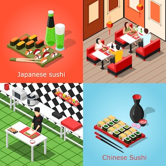 Isometric sushi bar concept