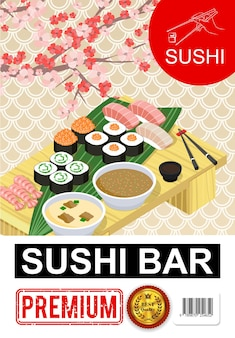 Изометрический плакат суши-бара с роллами сашими, тарелки супов, соевый соус, палочки для еды из морских водорослей на столе, ветка цветущей сакуры