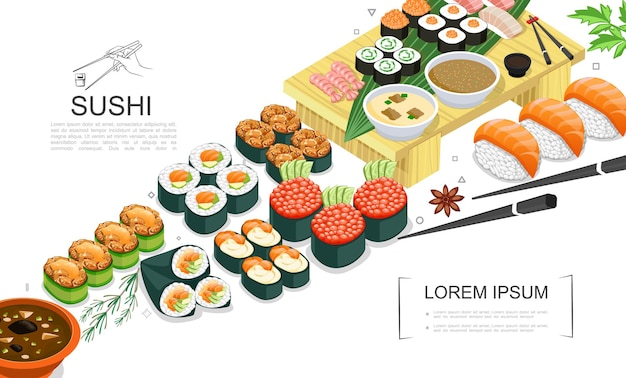 Isometric sushi food collection with sashimi rolls of different types spices seaweed sauces wasabi chopsticks  illustration