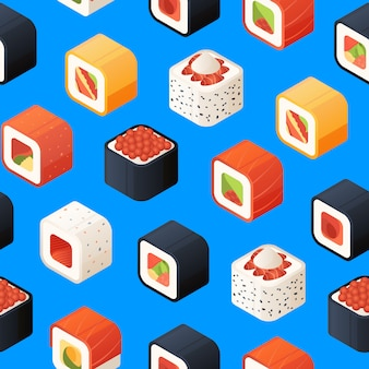 Isometric sushi pattern or  illustration