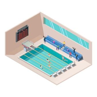 スイミングプールで等尺性の水泳レース