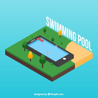 Isometric swimming pool in the nature