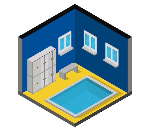 Isometric swimming pool with lockers