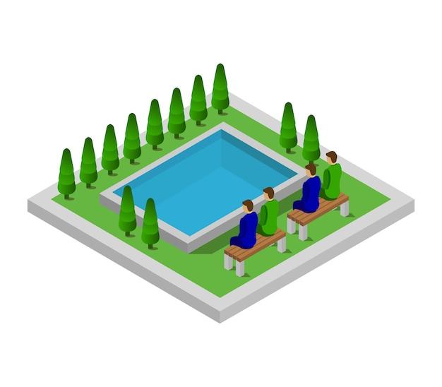 Isometric swimming pool