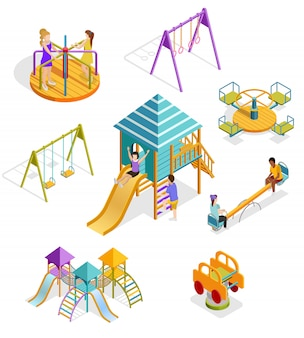 Isometric swinging kids icon set