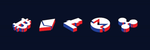 Isometric symbols of various cryptocurrencies in geometric 3d shape style with red, blue and white colors