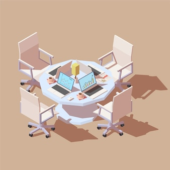 Isometric table with four working places