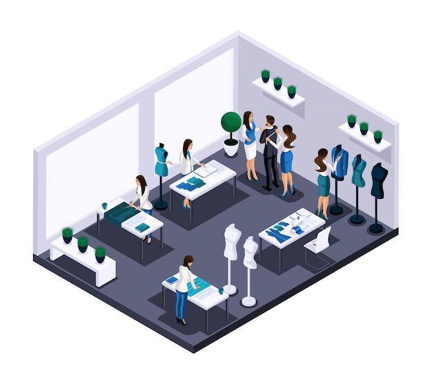 等尺性テーラールームアトリエプロセスの縫製ワークショップの仕事、顧客サービス、仕立て、スケッチ、カット。起業家自身、自分のビジネス