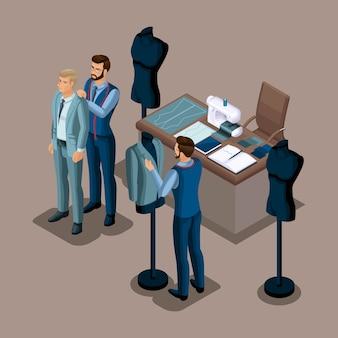 等尺性テーラー、注文する高品質の服の作成、ワークショップ、アトリエ。仕立て。起業家自身のために働いて、彼自身のビジネスセット4