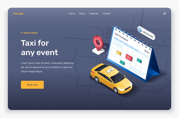Isometric taxi car, calendar and location pin. landing page template.