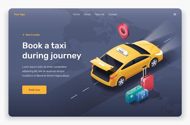 オープントランク、スーツケース、ロケーションピンを備えた等尺性タクシー車。ランディングページテンプレート。