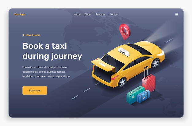 Isometric taxi car with open trunk, suitcases and location pin. landing page template.