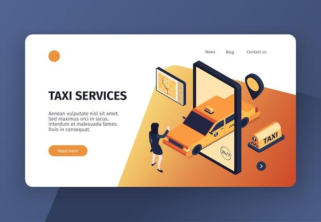 개념적 이미지 클릭 가능한 링크 및 텍스트가있는 아이소 메트릭 택시 개념 웹 사이트 방문 페이지 템플릿