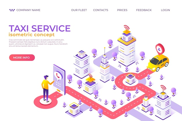 Isometric taxi landing page. city map website with destination points, car rent and food delivery service concept. vector illustration template advertisement service cab