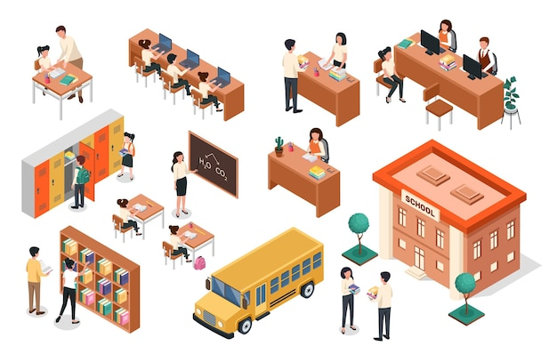 Изометрические учитель на доске ученики сидят за партой школьное здание автобус классная мебель вектор