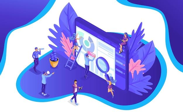 Изометрическая команда специалистов, работающих над целевой страницей стратегии цифрового маркетинга. цифровой маркетинг. векторная иллюстрация.