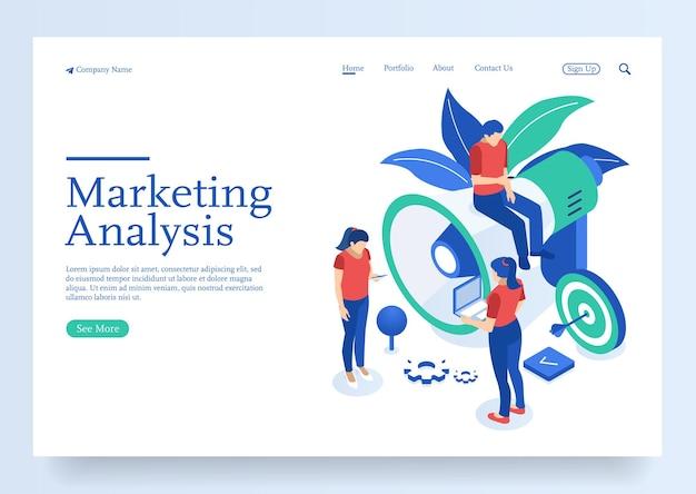 Изометрическая команда специалистов, работающих над целевой страницей стратегии цифрового маркетинга цифровой маркетинг
