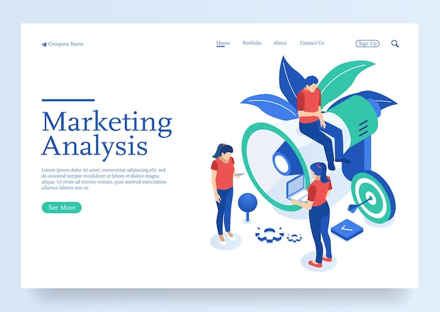 Isometric team of specialists working on digital marketing strategy landing page digital marketing