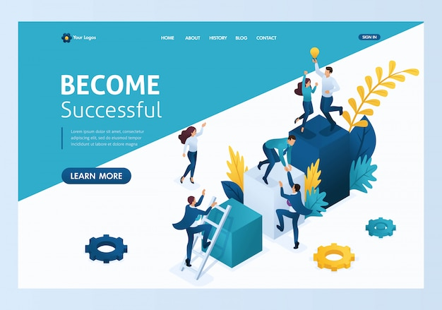 Isometric team success, miniature people climb up landing page