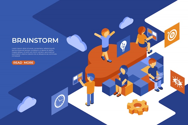 Isometric team work people business and brainstorm infographics