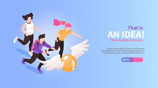 Isometric teamwork brainstorming horizontal banner with people running for flying ball conceptual images text and button vector illustration