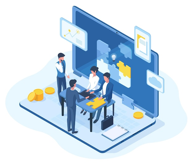 Isometric teamwork, brainstorming team meeting 3d concept. people creative business team brainstorming vector illustration. office teamwork characters