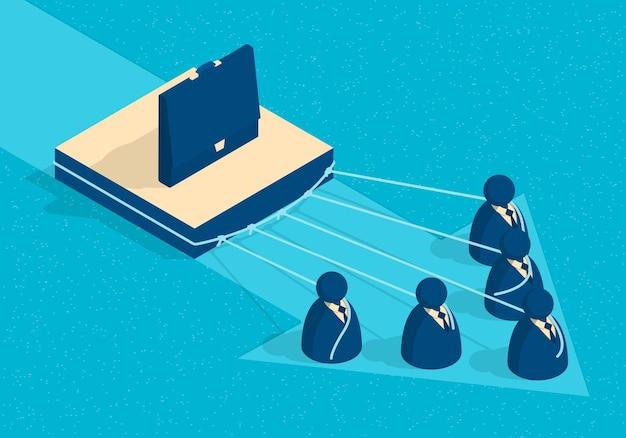 ビジネスの人々のイラストの抽象的なグループと等尺性チームワークの概念