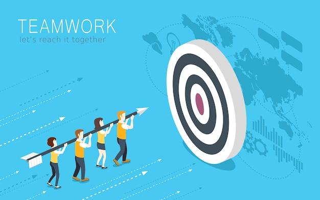 Isometric  of teamwork concept