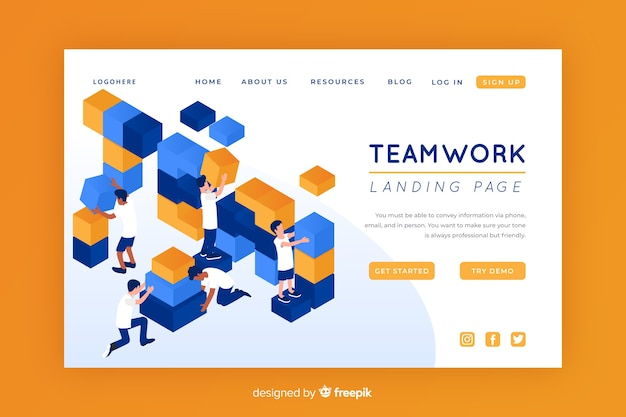 Isometric teamwork landing page template