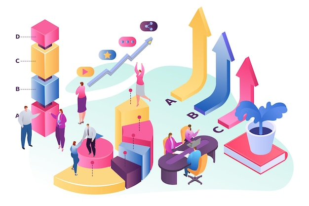 Isometric teamwork, people near growth chart, vector illustration. flat man woman character business team with professional analytics. corporate communication for finance success concept.