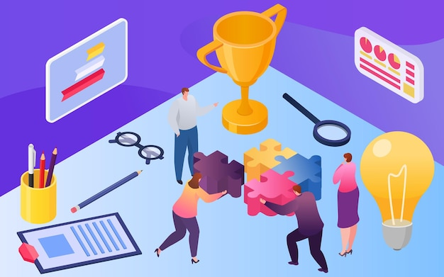 人との等尺性のチームワーク、ベクトル図。ビジネスマンの女性キャラクターがパズルを組み立て、巨大なランプのアイデアデザインに近い労働者。創造的なビジネスソリューション、成功する仕事のためのトロフィー。
